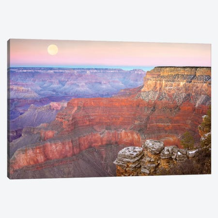 Full Moon Over The Grand Canyon At Sunset As Seen From Pima Point, Grand Canyon National Park, Arizona Canvas Print #TFI385} by Tim Fitzharris Canvas Wall Art