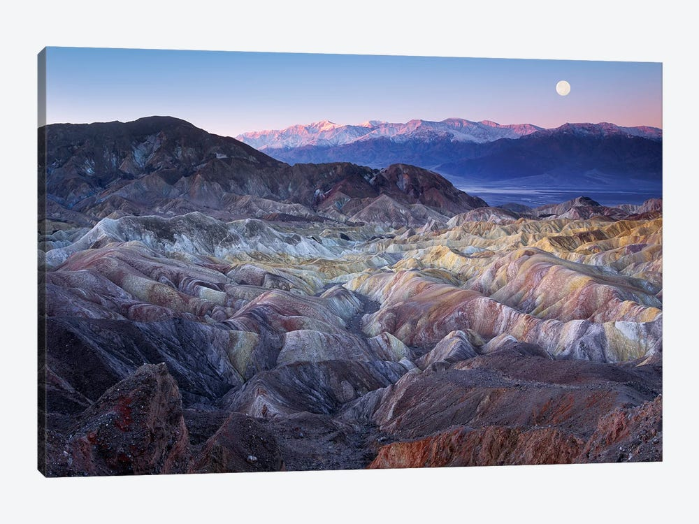 Full Moon Rising Over Zabriskie Point, Death Valley National Park, California 1-piece Canvas Artwork