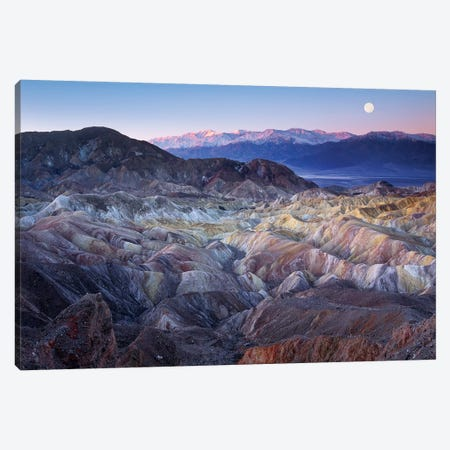 Full Moon Rising Over Zabriskie Point, Death Valley National Park, California Canvas Print #TFI386} by Tim Fitzharris Canvas Wall Art