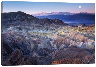 Full Moon Rising Over Zabriskie Point, Death Valley National Park, California Canvas Art Print