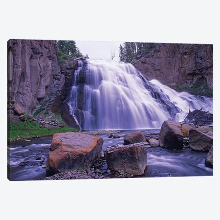 Gibbon Falls Cascading Into River, Yellowstone National Park, Wyoming Canvas Print #TFI392} by Tim Fitzharris Canvas Artwork