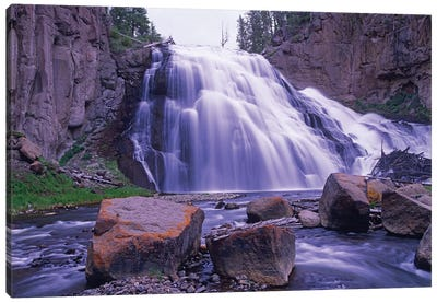 Gibbon Falls Cascading Into River, Yellowstone National Park, Wyoming Canvas Art Print