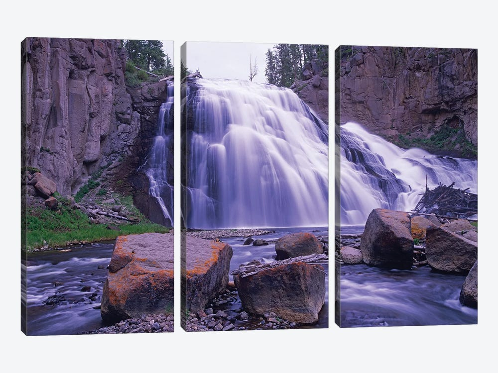 Gibbon Falls Cascading Into River, Yellowstone National Park, Wyoming by Tim Fitzharris 3-piece Art Print