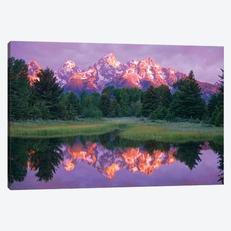 Grand Teton Range And Cloudy Sky At Schwabacher Landing, Grand Teton National Park, Wyoming Canvas Print #TFI402} by Tim Fitzharris Canvas Artwork