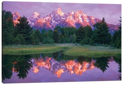 Grand Teton Range And Cloudy Sky At Schwabacher Landing, Grand Teton National Park, Wyoming Canvas Art Print