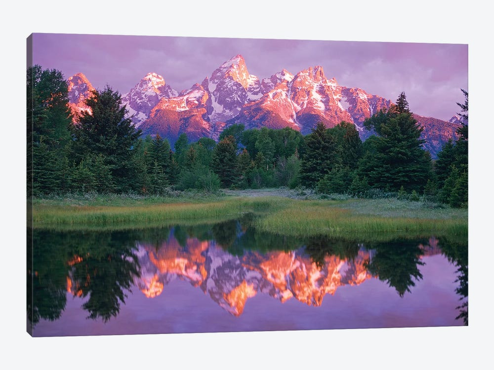 Grand Teton Range And Cloudy Sky At Schwabacher Landing, Grand Teton National Park, Wyoming 1-piece Art Print