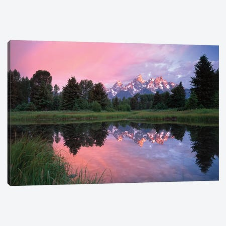 Grand Teton Range And Cloudy Sky At Schwabacher Landing, Reflected In The Water, Grand Teton National Park, Wyoming I Canvas Print #TFI403} by Tim Fitzharris Canvas Wall Art