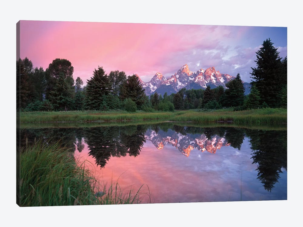 Grand Teton Range And Cloudy Sky At Schwabacher Landing, Reflected In The Water, Grand Teton National Park, Wyoming I by Tim Fitzharris 1-piece Canvas Art