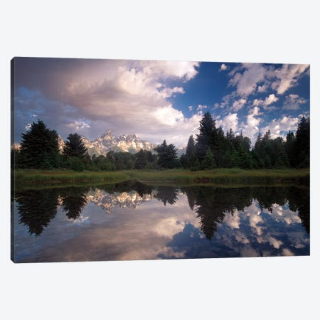 Grand Teton Range And Cloudy Sky At Schwabacher Landing, Reflected In The Water, Grand Teton National Park, Wyoming II Canvas Print #TFI404} by Tim Fitzharris Canvas Print