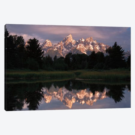 Grand Teton Range And Cloudy Sky At Schwabacher Landing, Reflected In The Water, Grand Teton National Park, Wyoming III Canvas Print #TFI405} by Tim Fitzharris Art Print