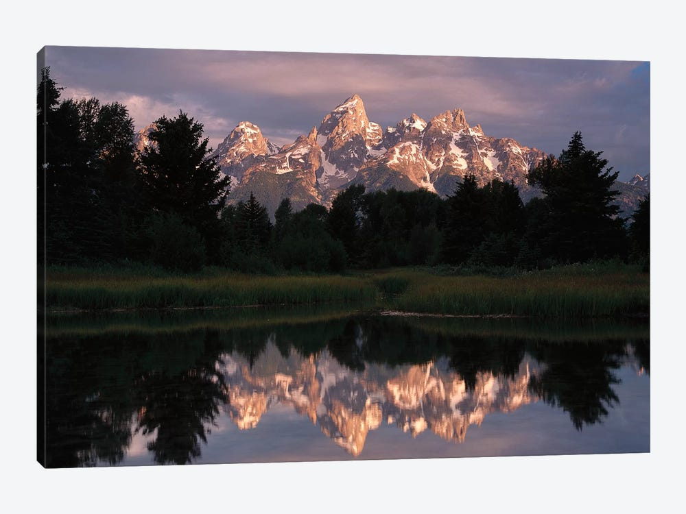 Grand Teton Range And Cloudy Sky At Schwabacher Landing, Reflected In The Water, Grand Teton National Park, Wyoming III by Tim Fitzharris 1-piece Canvas Wall Art