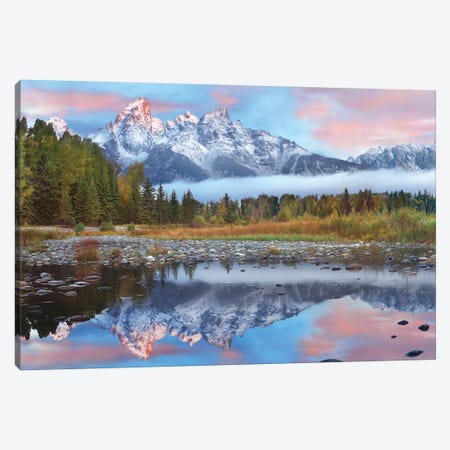 Grand Tetons Reflected In Lake, Grand Teton National Park, Wyoming I Canvas Print #TFI406} by Tim Fitzharris Canvas Art Print