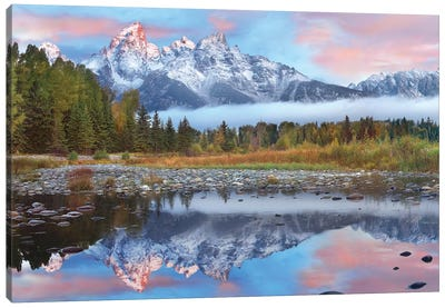 Grand Tetons Reflected In Lake, Grand Teton National Park, Wyoming I Canvas Art Print