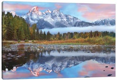 Grand Tetons Reflected In Lake, Grand Teton National Park, Wyoming I Canvas Art Print
