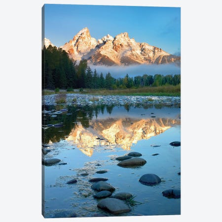 Grand Tetons Reflected In Lake, Grand Teton National Park, Wyoming II Canvas Print #TFI407} by Tim Fitzharris Canvas Print