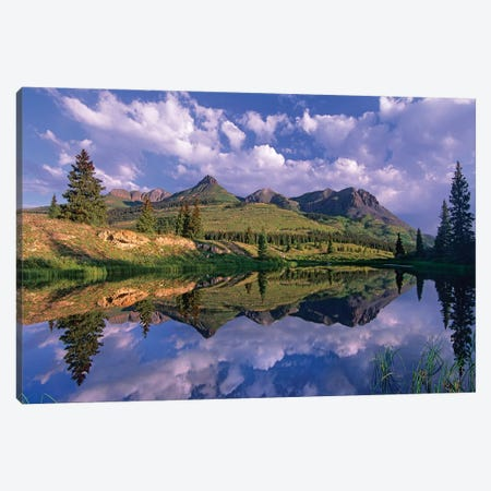 Grand Turk And Sultan Mountain Reflected In Molas Lake, Colorado Canvas Print #TFI408} by Tim Fitzharris Canvas Wall Art
