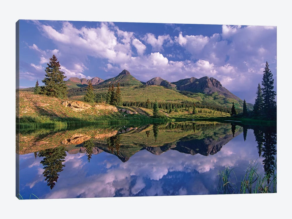 Grand Turk And Sultan Mountain Reflected In Molas Lake, Colorado by Tim Fitzharris 1-piece Art Print