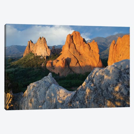 Gray Rock And South Gateway Rock, Conglomerate Sandstone Formations, Garden Of The Gods, Colorado Springs, Colorado I Canvas Print #TFI412} by Tim Fitzharris Canvas Print