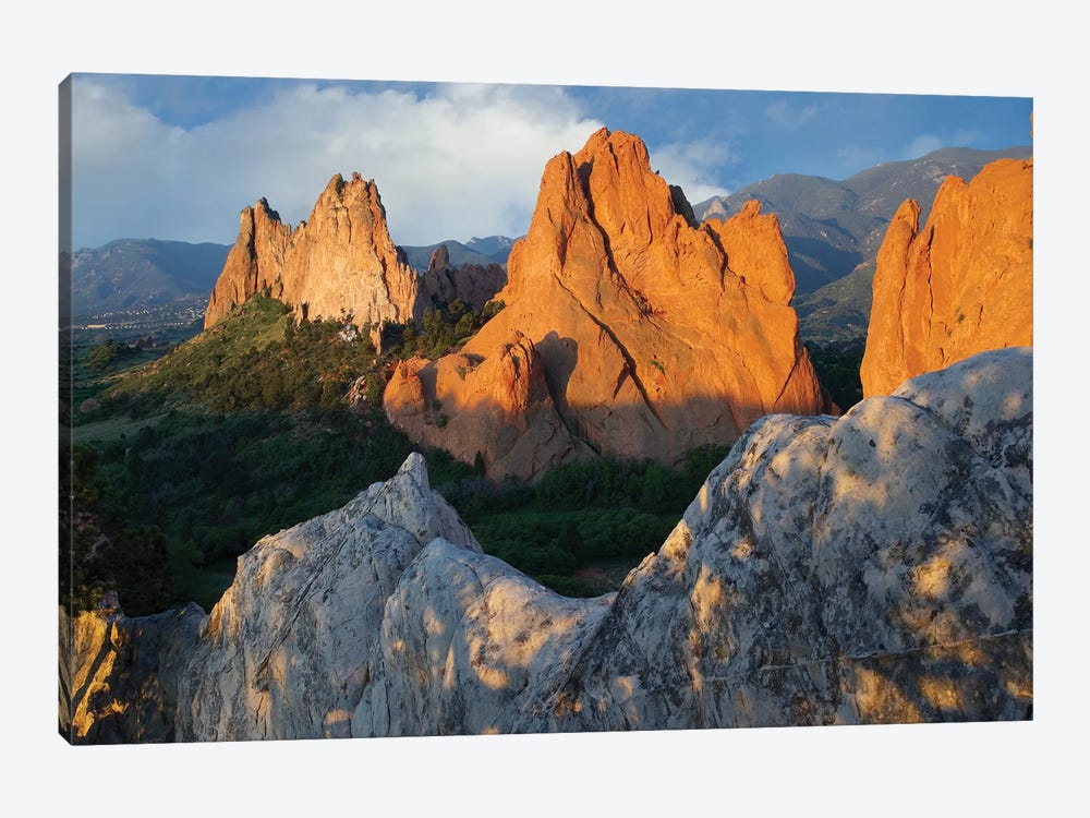 Gray Rock And South Gateway Rock, Conglomerate Sandstone Formations, Garden Of The Gods, Colorado Springs, Colorado I by Tim Fitzharris 1-piece Canvas Artwork