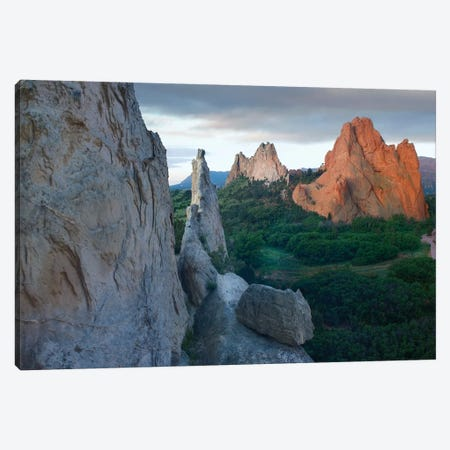 Gray Rock And South Gateway Rock, Conglomerate Sandstone Formations, Garden Of The Gods, Colorado Springs, Colorado II Canvas Print #TFI413} by Tim Fitzharris Canvas Print