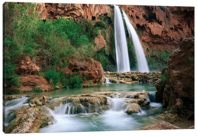 Havasu Creek, Which Is Lined With Cottonwood Trees, Being Fed By One Of Its Three Cascades, Havasu Falls, Grand Canyon, Arizona Canvas Art Print