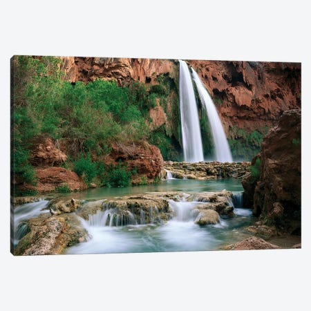 Havasu Creek, Which Is Lined With Cottonwood Trees, Being Fed By One Of Its Three Cascades, Havasu Falls, Grand Canyon, Arizona Canvas Print #TFI454} by Tim Fitzharris Canvas Artwork
