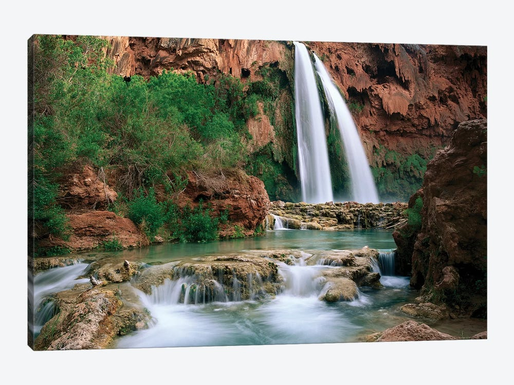 Havasu Creek, Which Is Lined With Cottonwood Trees, Being Fed By One Of Its Three Cascades, Havasu Falls, Grand Canyon, Arizona by Tim Fitzharris 1-piece Canvas Art