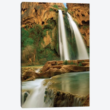 Havasu Creek Being Fed By One Of Its Three Cascades, Havasu Falls, Grand Canyon, Arizona Canvas Print #TFI455} by Tim Fitzharris Canvas Wall Art