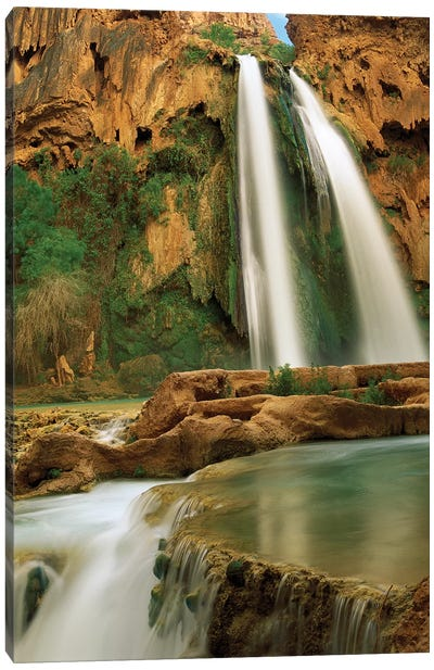 Havasu Creek Being Fed By One Of Its Three Cascades, Havasu Falls, Grand Canyon, Arizona Canvas Art Print