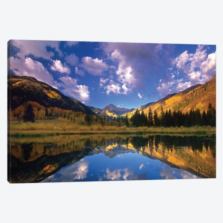 Haystack Mountain Reflected In Beaver Pond, Maroon Bells, Snowmass Wilderness, Colorado Canvas Print #TFI463} by Tim Fitzharris Canvas Art
