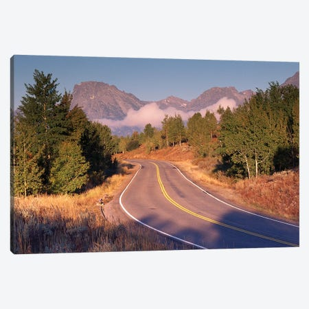 Highway And Mt Moran, Grand Teton National Park, Wyoming Canvas Print #TFI468} by Tim Fitzharris Canvas Artwork