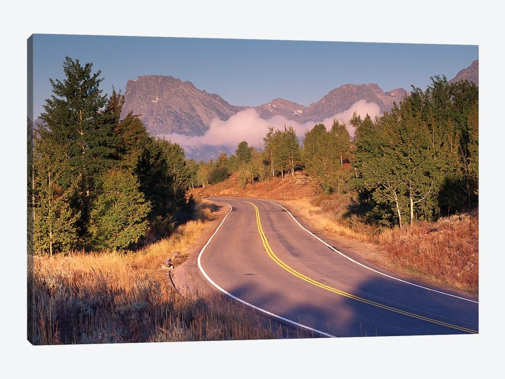 Highway And Mt Moran, Grand Teton National Park, Wyoming by Tim Fitzharris 1-piece Canvas Art Print