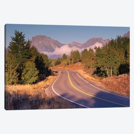 Highway And Mt Moran, Grand Teton National Park, Wyoming Canvas Print #TFI468} by Tim Fitzharris Canvas Artwork