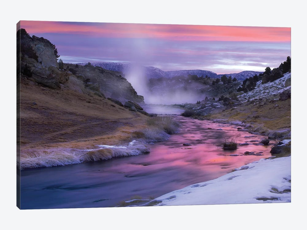 Hot Creek At Sunset, Natural Hot Spring In Mammoth Lakes Region, Eastern Sierra Nevada, California by Tim Fitzharris 1-piece Canvas Print