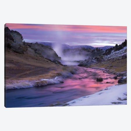 Hot Creek At Sunset, Natural Hot Spring In Mammoth Lakes Region, Eastern Sierra Nevada, California Canvas Print #TFI471} by Tim Fitzharris Canvas Art Print