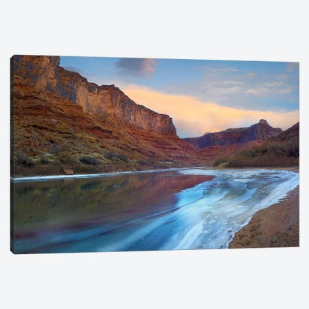 Ice On The Colorado River Beneath Sandstone Cliffs, Cataract Canyon, Utah Canvas Print #TFI472} by Tim Fitzharris Canvas Print