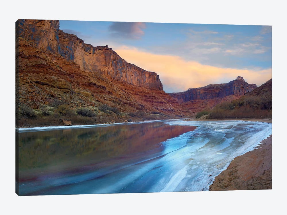 Ice On The Colorado River Beneath Sandstone Cliffs, Cataract Canyon, Utah by Tim Fitzharris 1-piece Canvas Artwork