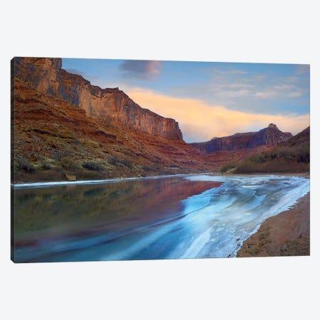 Ice On The Colorado River Beneath Sandstone Cliffs, Cataract Canyon, Utah Canvas Print #TFI472} by Tim Fitzharris Canvas Print