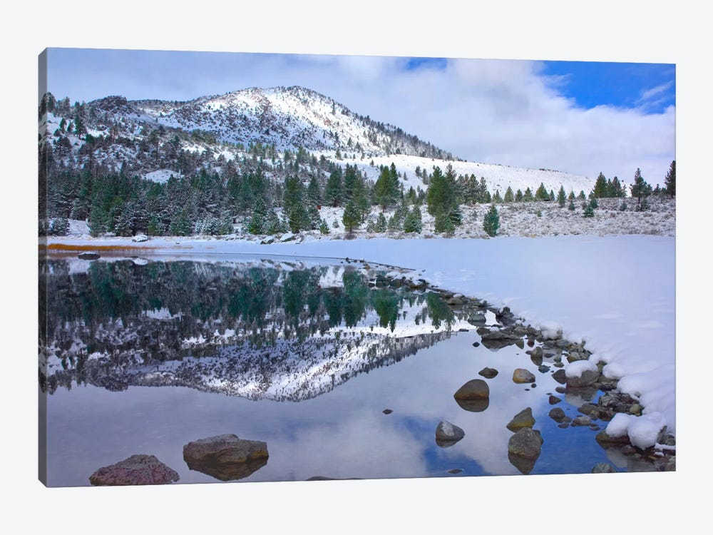 June Lake Reflecting Snow-Covered Mountains After Clearing Storm, Eastern Sierra Nevada Mountains, California by Tim Fitzharris 1-piece Canvas Wall Art