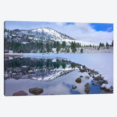 June Lake Reflecting Snow-Covered Mountains After Clearing Storm, Eastern Sierra Nevada Mountains, California Canvas Print #TFI494} by Tim Fitzharris Canvas Wall Art