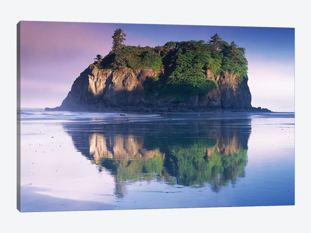 Abbey Island Looms Over Ruby Beach, Olympic National Park, Washington by Tim Fitzharris 1-piece Canvas Art