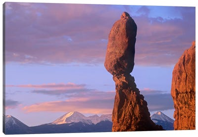 La Sal Mountains And Balanced Rock, Arches National Park, Utah Canvas Art Print
