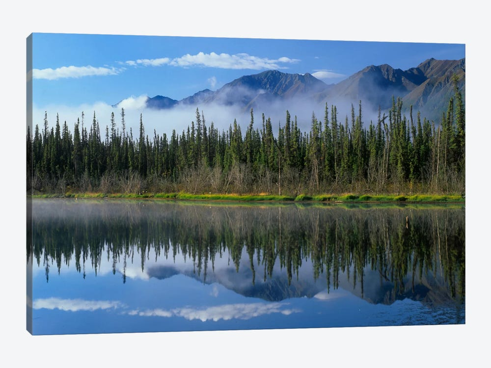 Lake Reflecting Mountain Range And Forest, Kluane National Park, Yukon, Canada by Tim Fitzharris 1-piece Canvas Art Print