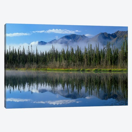 Lake Reflecting Mountain Range And Forest, Kluane National Park, Yukon, Canada Canvas Print #TFI505} by Tim Fitzharris Canvas Art