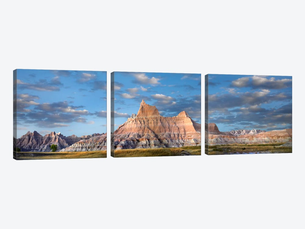 Landscape Showing Erosional Features In Sandstone, Badlands National Park, South Dakota 3-piece Canvas Art Print