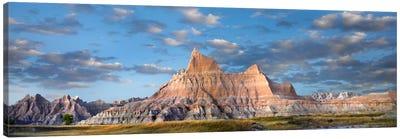 Landscape Showing Erosional Features In Sandstone, Badlands National Park, South Dakota Canvas Art Print