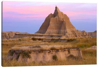 Landscape Showing Erosional Features With Grassland, Badlands National Park, South Dakota Canvas Art Print