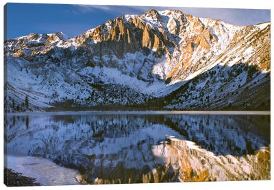 Laurel Mountain And Convict Lake In Winter, Eastern Sierra Nevada, California Canvas Art Print