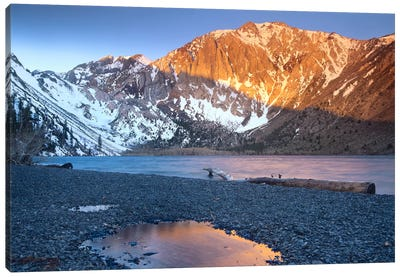 Laurel Mountain Dusted With Snow Overlooking Convict Lake, Sierra Nevada, California Canvas Art Print
