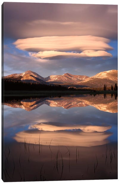Lenticular Clouds Reflected In Flooded Tuolumne Meadows, Yosemite National Park, California Canvas Art Print